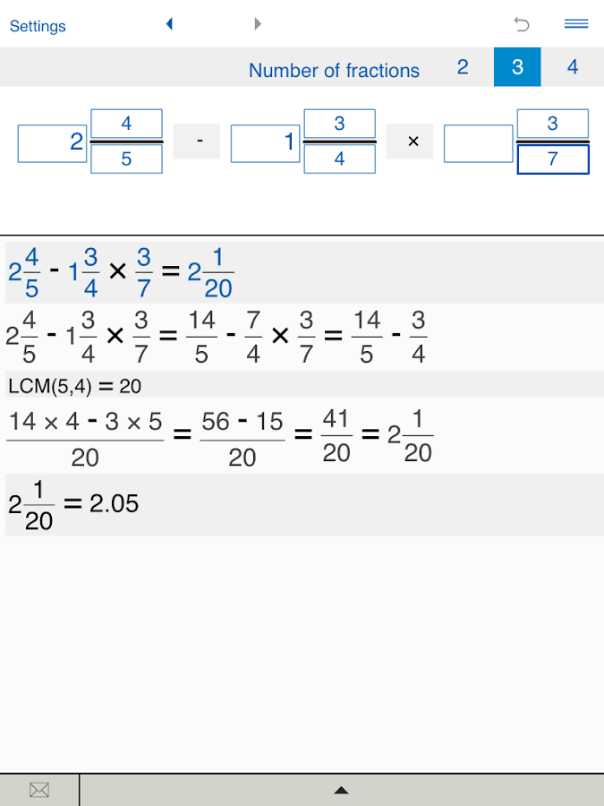 Fraction calculator XL- screenshot