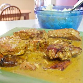 Pork Chops with Caramelized Onion & Dijon Cream Sauce