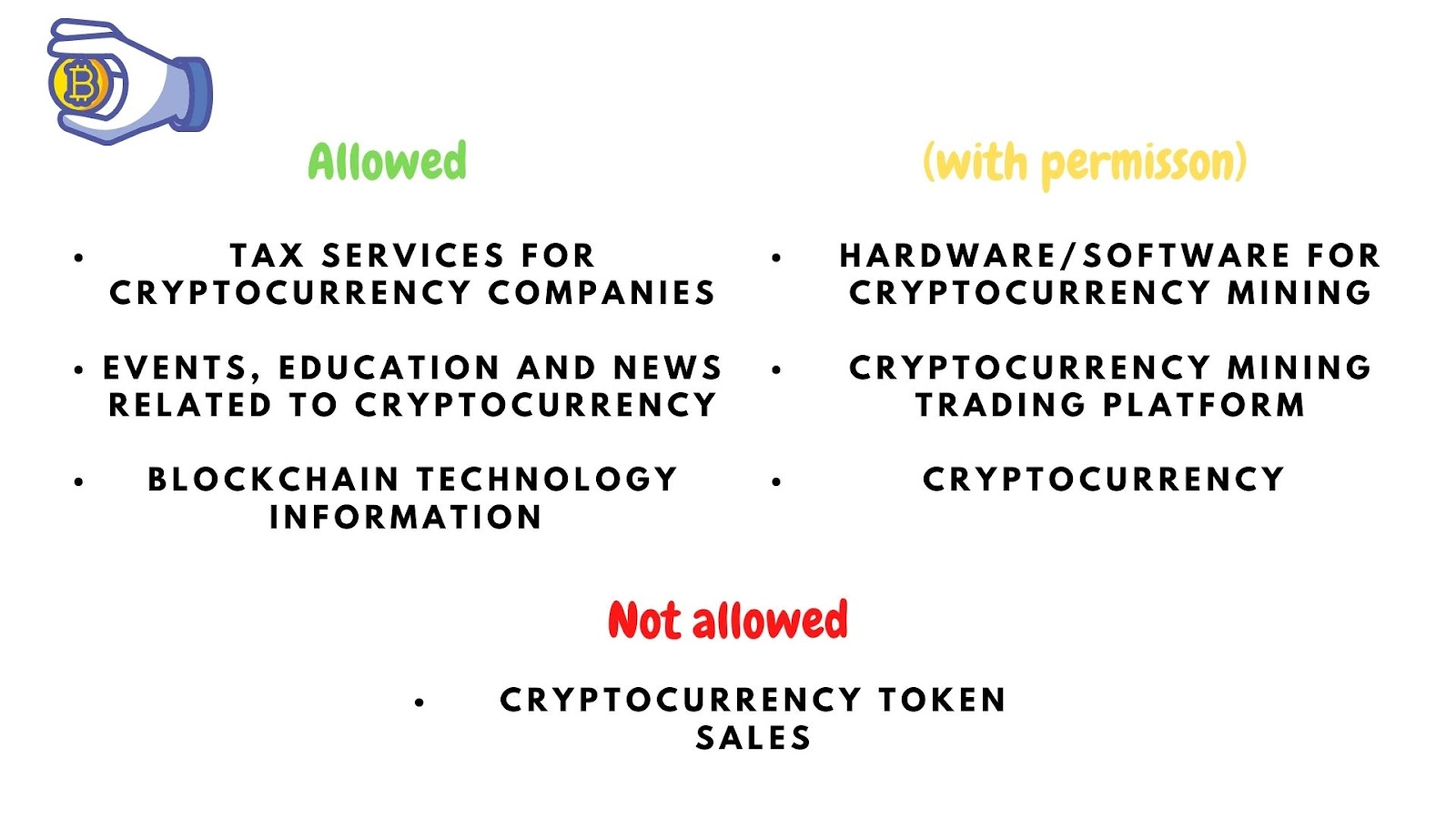 Image showing what is allowed and not allowed and what can be done with the correct permission in cryptocurrency policies.