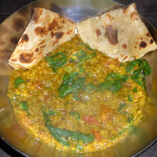 Fragrant Red Lentil, Spinach and Tomato Dal.