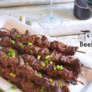 Teriyaki Beef Cube Steak Skewers.
