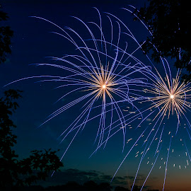 Double Blue by Dale Minter - Abstract Fire & Fireworks ( sky, country, firewoks, blue, fourth of july, fun,  )