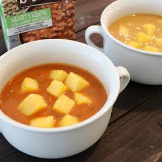 Vegan Soups with Polenta Croutons.