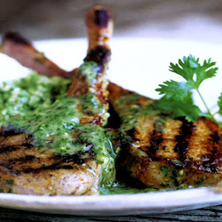 Lamb Chops with Cilantro-Mint Sauce.