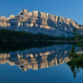 Mt Rundle by Peter Luxem - Landscapes Mountains & Hills ( mt rundle, reflection, canada, pwcreflections, mirrorlike, banff, food, cooked, plated, dessert, vegetables, meat, fish, dish, recipe, baked, roasted, grilled, sauteed, poached, spiced )