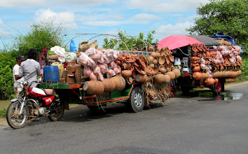 Photo: Year 2 Day 37 -  Scooter Tuk Tuk with Trailer Full of Terracotta Ware