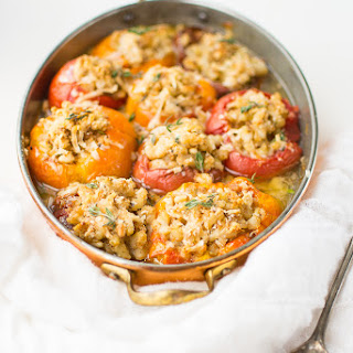 Stuffed Heirloom Tomatoes with Flageolet Beans and Thyme