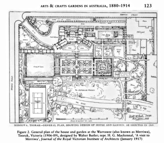 Plan of house and garden at Warrawee (Merriwa) Toorak (1906-1909) designed by architect Walter Butler.