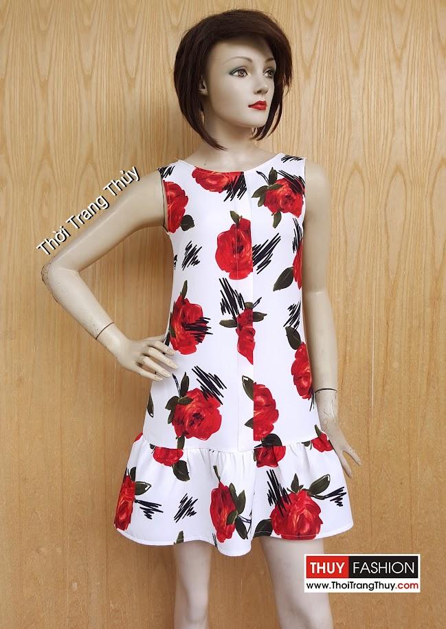 Váy suông chân xòe loa kèn hoa tiết hoa hồng V469 tại Thời Trang Thủy