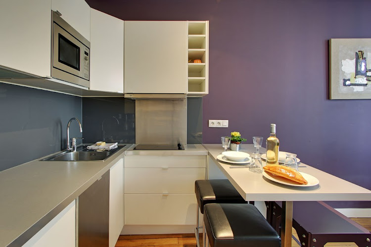 Equipped Kitchen at Studio Apartment on Rue Du Temple