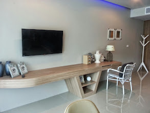 Photo: Table and TV are awesome, Karon Hill
