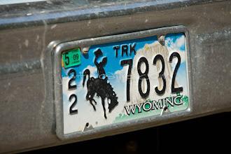 Photo: Wyoming license plate.
