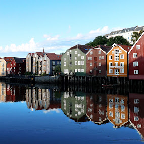 Trondheim, Norway by Siew Feun Kylemark - Landscapes Travel ( landmark, reflection, houses, colorful, buildings, trondheim, perspective, travel, norge, norway )