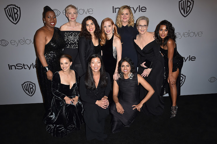 Activist Tarana Burke, actors Michelle Williams, America Ferrera, Jessica Chastain, Amy Poehler, Meryl Streep, Kerry Washington, Natalie Portman, activists Ai-jen Poo, and Saru Jayaraman attend the 19th Annual Post-Golden Globes Party