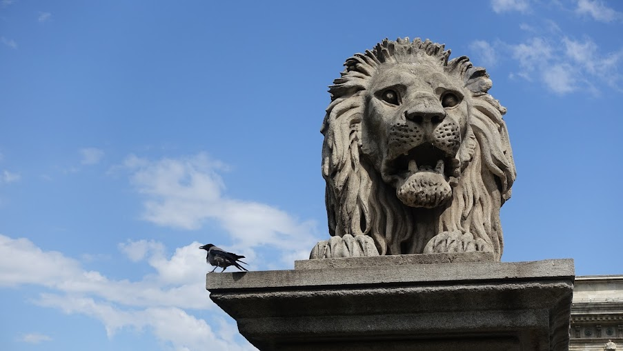 鎖鏈橋上的獅子和他上面的烏鴉