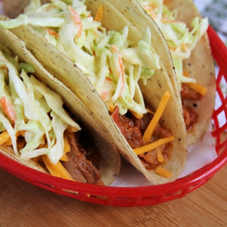 10-Minute Pulled Pork Tacos with Quick Slaw.