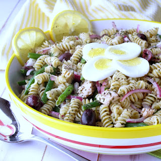 Family Friendly Pasta Salad Tuna Nicoise.