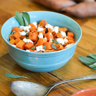 Roasted Sweet Potatoes with Goat Cheese & Sage.