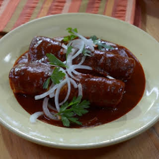 Chicken Enchiladas in Brick-Red Mole.