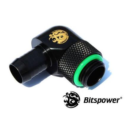 "Bitspower svivelnippel, 90°, 1/4""BSPx3/8""ID, Matt Black"