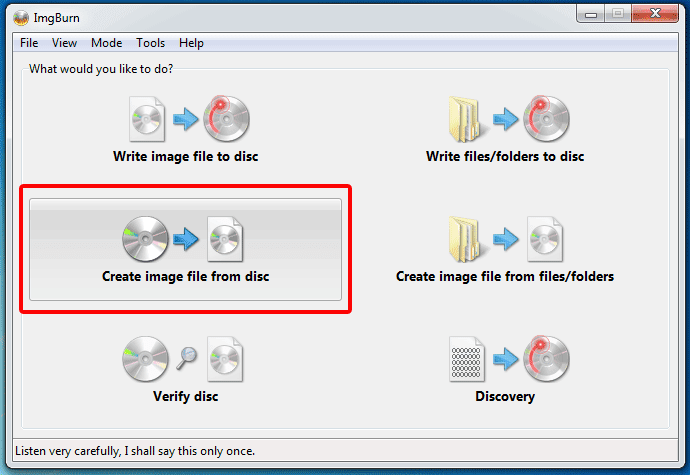"Click ""Create Image File from Disk"""