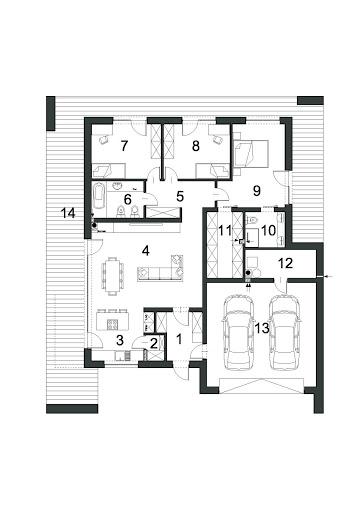 Otwarty D42 wariant - Rzut parteru - wariant z garderobą o powierzchni 8,03 m2