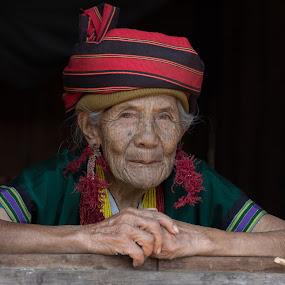 Tattooed old lady by George Marcu - People Portraits of Women ( tattooed women, myanmar, traditional people, old women, tattoo, grandma,  )