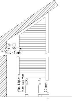 Raumteiler für Heizkörper mit Schräge