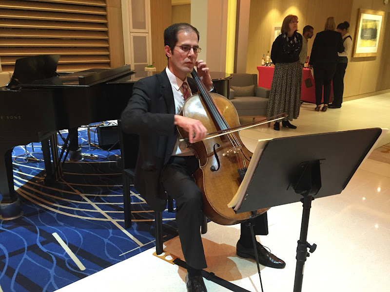 A cellist performs in the Living Room of Viking Star.