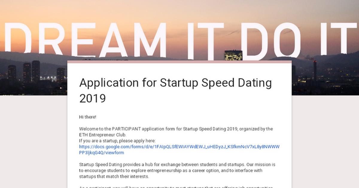 ETH Startup Speed Dating Beste Arabische matchmaking sites