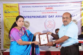 Photo: Chief Guest, Dr. V. Padmavathy Issing Senior Entrepreneur Award to Mr. J. Ananda Seshadri, Proprietor, Foto Magic, Sanganoor Road, Coimbatore