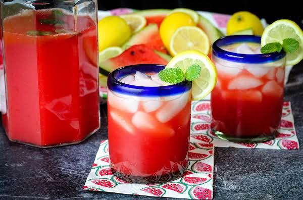 Glasses Of Watermelon Mint Lemonade.