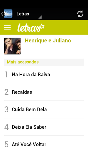 android Henrique e Juliano Letras Screenshot 1