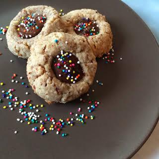 Passover Chocolate Pecan Thumbprint Cookies.