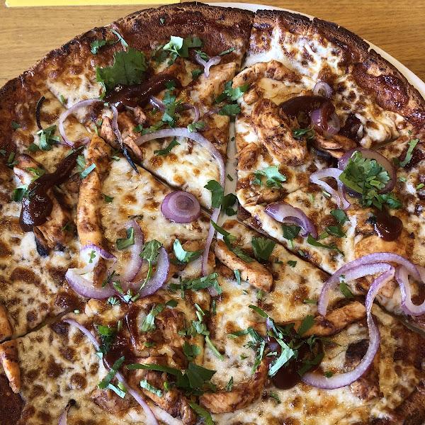 Certified GF BBQ chicken pizza