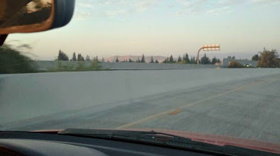 Photo: While on the freeway we could see the Sierra Nevada Foothills. You can only see a little bit of them, California smog covers them a lot.