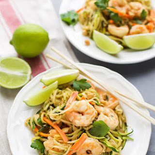 Zucchini Noodle Stir Fry with Shrimp.