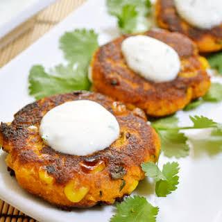 Sweet Potato Corn Cakes with Garlic Dipping Sauce.