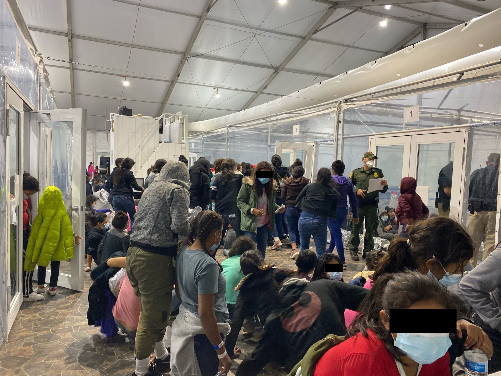 Images showing migrants in close quarters at the temporary Donna Immigration Facility in Texas. Positive COVID-19 cases, as well as sexual and physical assaults were reported by whistle blowers