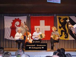 Photo: Simon Dettwiler mit ehemaligen GF Leitern Stefen Wehrli & Werner Nöthiger am Bass Andi Schaub