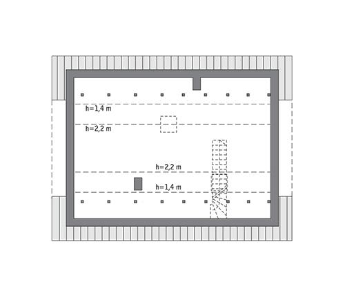 Miarodajny - wariant XX - C333y - Rzut poddasza do indywidualnej adaptacji (40,3 m2 powierzchni użytkowej)