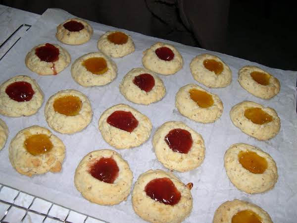 Apricot And Strawberry Jams For The Filling On These Cookies