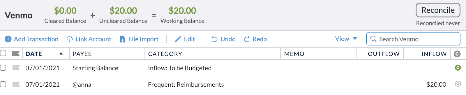 The reimbursement was categorized as an inflow to the Reimbursements category within the Venmo account.