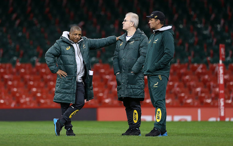 Head Coach Allister Coetzee during the South African national mens rugby team Captains Run at Principality Stadium on December 01, 2017 in Cardiff, Wales.