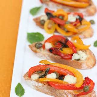 Bruschetta with Peppers and Gorgonzola.