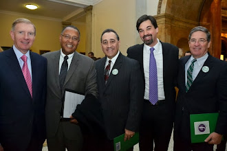 Photo: BBA President Paul Dacier, Chief Justice Roderick Ireland (Supreme Judicial Court), BBA Council members Tony Froio (Robins Kaplan Miller & Ciresi) and Jeff Pyle (Prince Lobel), and BBA Past President J.D. Smeallie.