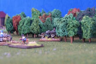 Photo: Milizia di Montreal nel bosco.Miniature Baccus, materiale scenico autocostruito.
