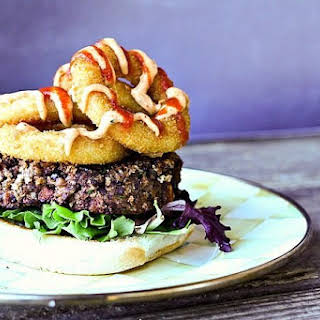 Roasted Sweet Potato Black Bean Burgers with Smoked Paprika Chipotle Sauce.