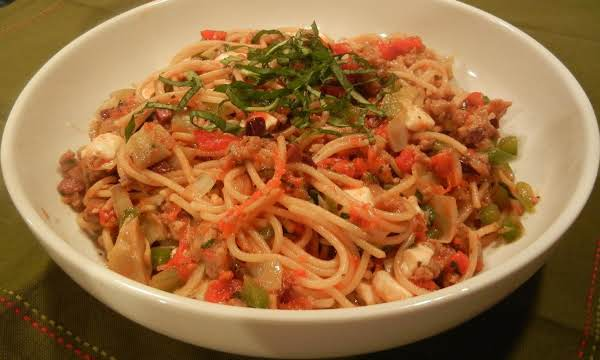 One Skillet Sausage Ragu Spaghetti