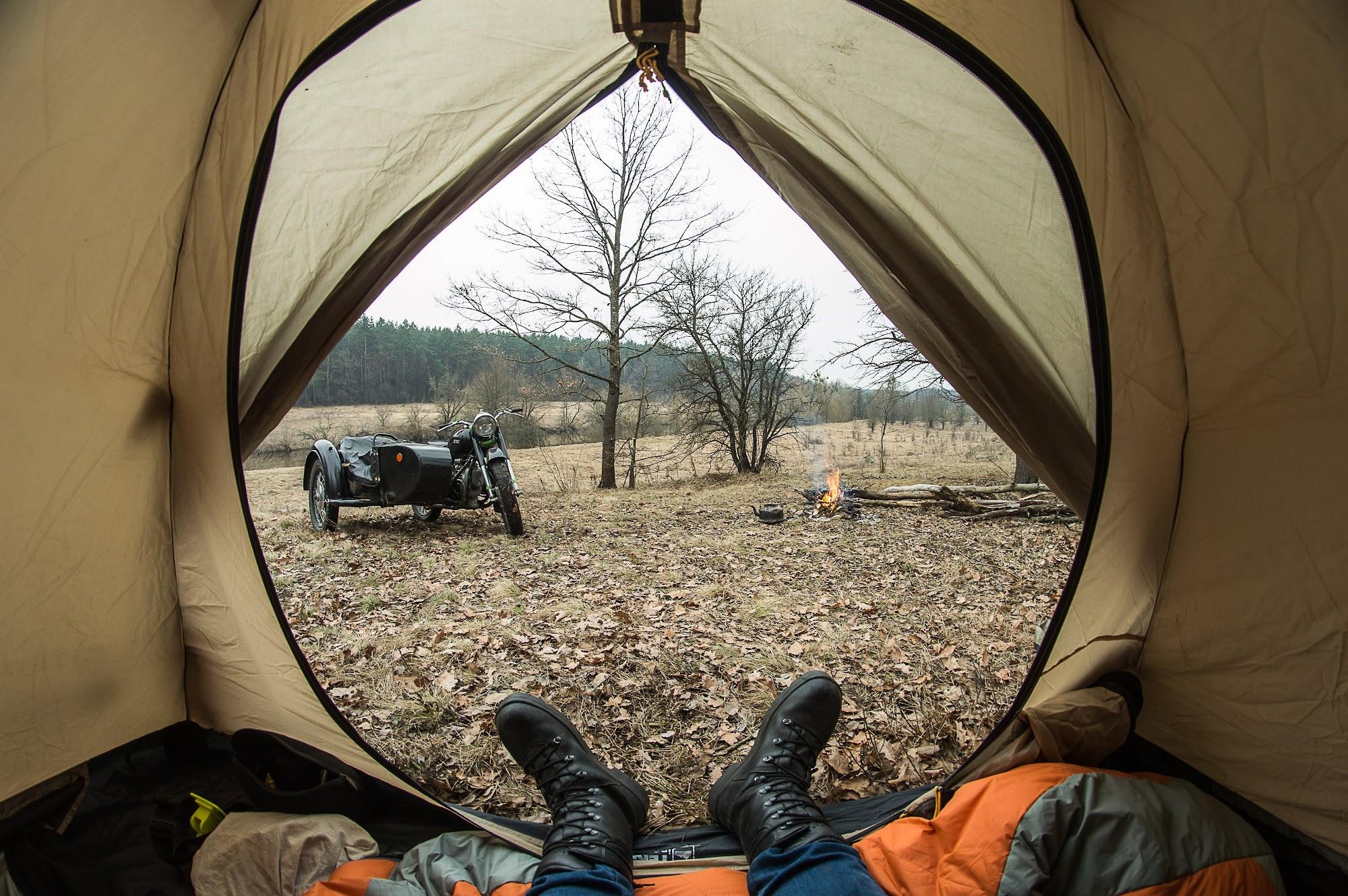 Вид на табір з намету